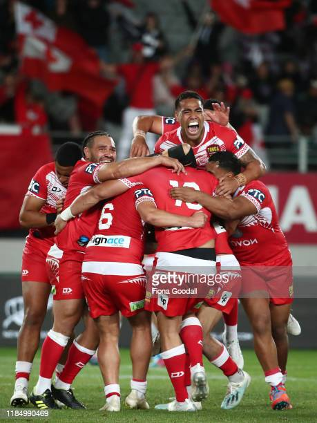 Tonga celebrates the win during the Rugby League International Test match between the Australia Kangaroos and Tonga at Eden Park on November 02, 2019...