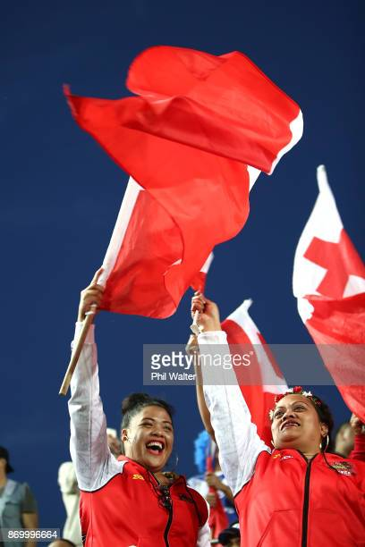 Tonga fans celebrate during the 2017 Rugby League World Cup match between Samoa and Tonga at Waikato Stadium on November 4 2017 in Hamilton New...
