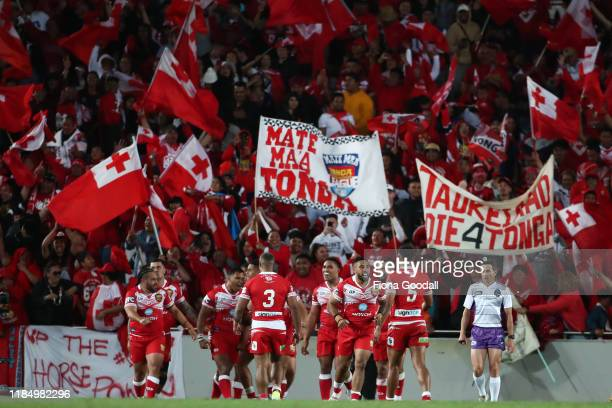 Tonga fans celebrate during the Rugby League International Test match between the Australia Kangaroos and Tonga at Eden Park on November 02, 2019 in...