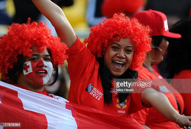 Tonga fans cheer their team on during the IRB 2011 Rugby World Cup Pool A match between France and Tonga at Wellington Regional Stadium on October 1...
