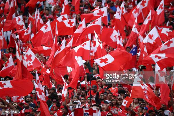 Tonga fans during the 2017 Rugby League World Cup Semi Final match between Tonga and England at Mt Smart Stadium on November 25 2017 in Auckland New...