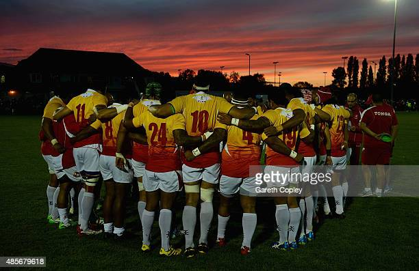 Tonga huddle together at half time during a friendly match between Nottingham and Tonga at Lady Bay on August 28 2015 in Nottingham England