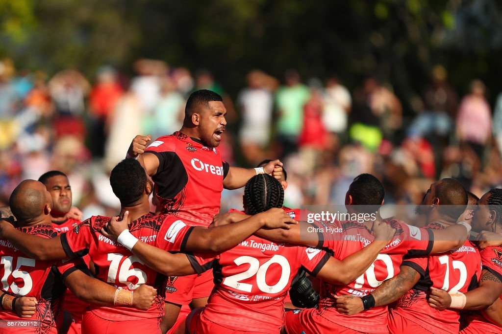 Tonga peform a traditional dance during the 2017 Rugby League World Cup match between Scotland and Tonga at Barlow Park on October 29, 2017 in Cairns, Australia.