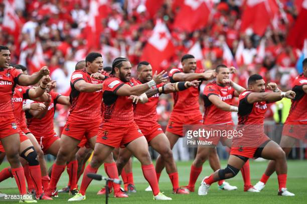 Tonga perform the cultural challenge during the 2017 Rugby League World Cup Semi Final match between Tonga and England at Mt Smart Stadium on...