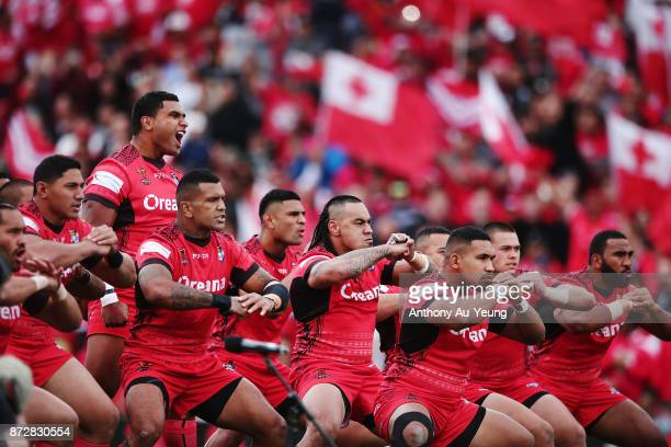 Tonga perform the Sipi Tau against the Kiwis during the 2017 Rugby League World Cup match between the New Zealand Kiwis and Tonga at Waikato Stadium...