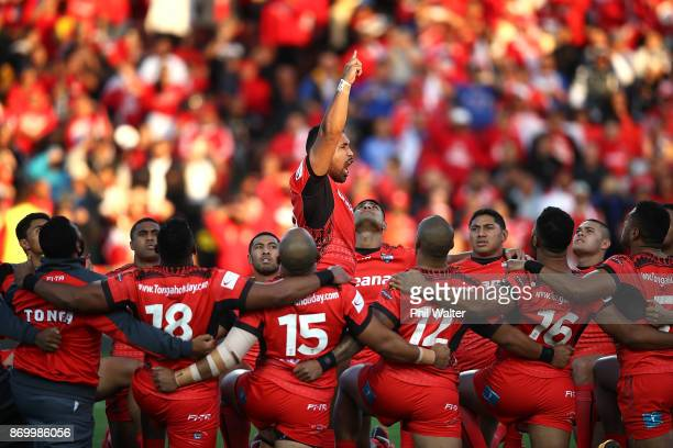 Tonga perform their cultural challenge during the 2017 Rugby League World Cup match between Samoa and Tonga at Waikato Stadium on November 4 2017 in...