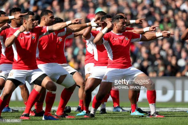 Tonga players perform the Haka during the rugby union Test match between New Zealand and Tonga in Hamilton on September 7, 2019.