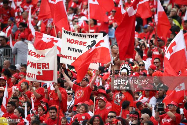 Tonga supporters during the 2017 Rugby League World Cup Semi Final match between Tonga and England at Mt Smart Stadium on November 25 2017 in...