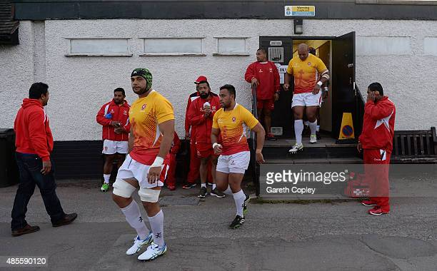 Tonga walk from the changing rooms ahead of a friendly match between Nottingham and Tonga at Lady Bay on August 28 2015 in Nottingham England