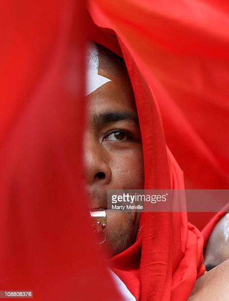 Tongan fan celebrates on day one of the Wellington IRB Sevens during the match between Tonga and Australia at Westpac Stadium on February 4, 2011 in...