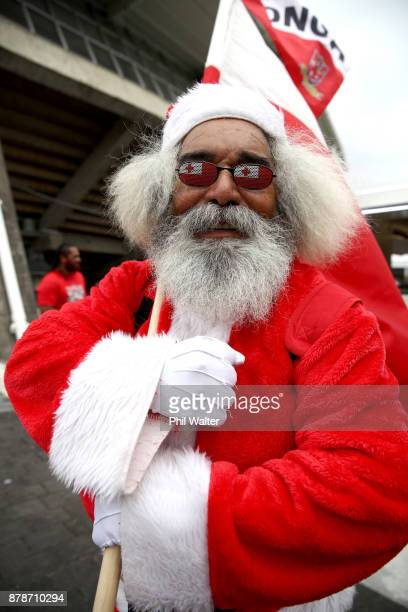 Tongan fans arrive for the 2017 Rugby League World Cup Semi Final match between Tonga and England at Mt Smart Stadium on November 25 2017 in Auckland...