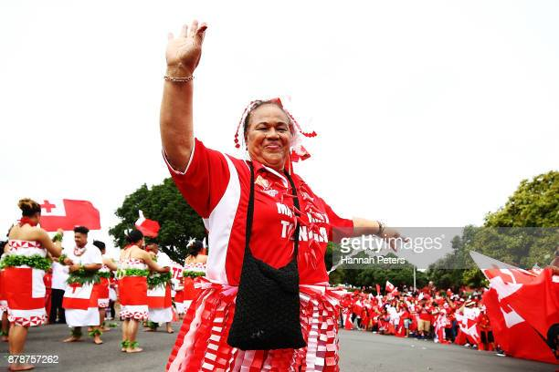 Tongan fans dance ahead of the 2017 Rugby League World Cup Semi Final match between Tonga and England at Mt Smart Stadium on November 25 2017 in...