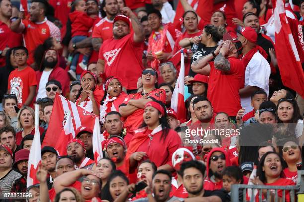 Tongan fans during the 2017 Rugby League World Cup Semi Final match between Tonga and England at Mt Smart Stadium on November 25 2017 in Auckland New...