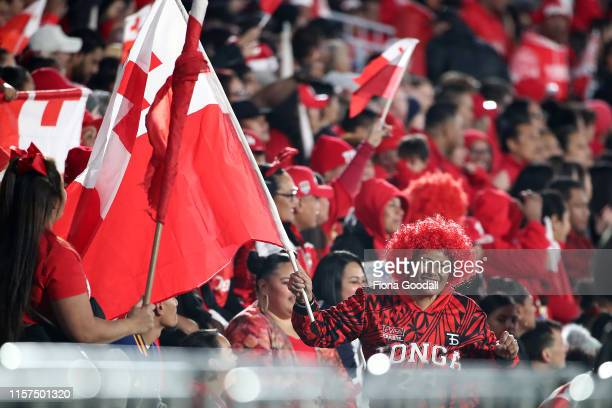 Tongan fans during the Oceania league test between the Kiwis and Mate Ma'a Tonga at Mt Smart Stadium on June 22, 2019 in Auckland, New Zealand.