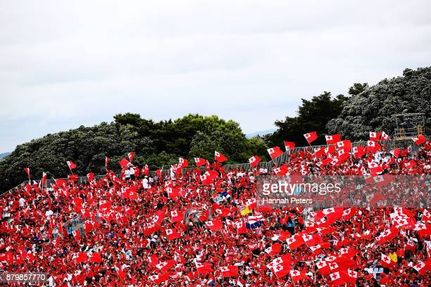 Tongan fans show their support during the 2017 Rugby League World Cup Semi Final match between Tonga and England at Mt Smart Stadium on November 25...