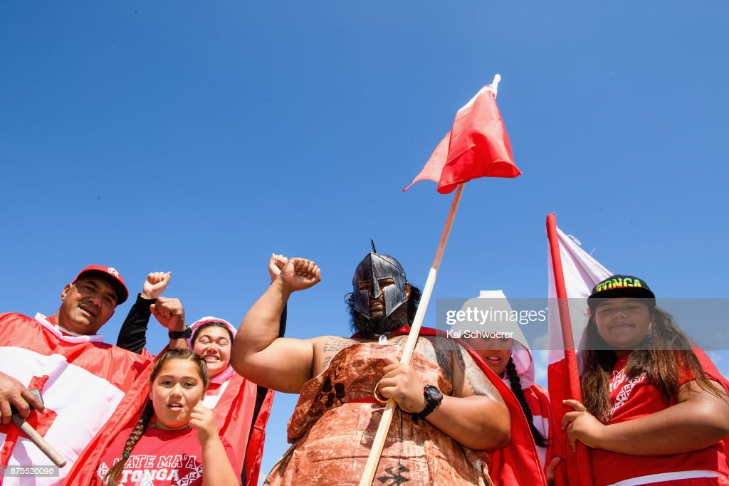 Tongan fans show their support prior to the 2017 Rugby League World Cup Quarter Final match between Tonga and Lebanon at AMI Stadium on November 18, 2017 in Christchurch, New Zealand.