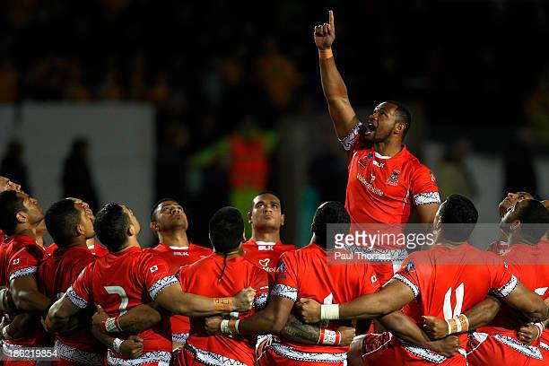Tongan players preform the Sipi Tau before the Rugby League World Cup Group C match between Tonga and Scotland at Derwent Park on October 29 2013 in...
