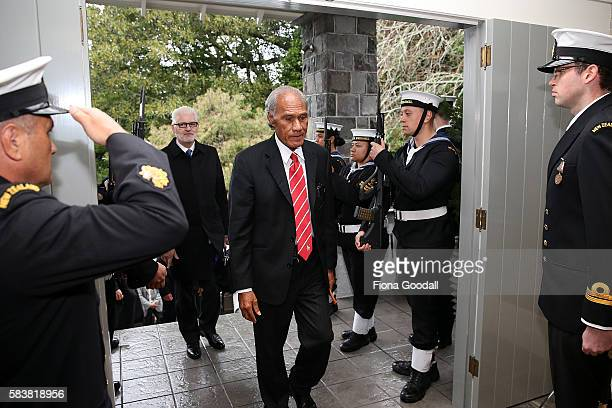 Tongan Prime Minister Samuela 'Akilisi Pohiva arrives at Government House on July 28 2016 in Auckland New Zealand