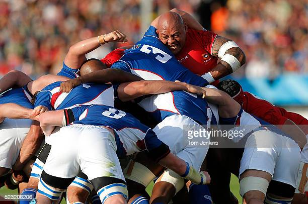 Tongan prop Soane Tonga'uiha pops out of a scrum during the Tonga v Namibia Rugby World Cup Pool C match at Sandy Park on September 29th 2015 in...