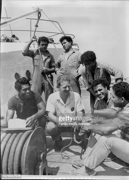 Tongan seaman aboard the fishing trawler Ata.Skipper Peter Warner with Stephen, Kolo Luke, David, John and Mano. March 01, 1968. .