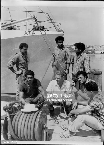 Tongan seaman aboard the fishing trawler Ata.Skipper Peter Warner with Stephen, Luke, Kolo, David, John and Mano. March 01, 1968. .