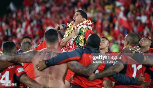 Tonga's Jason Taumalolo leads the Tongan challenge after the Rugby League World Cup men's semifinal match between Tonga and England at Mt Smart...