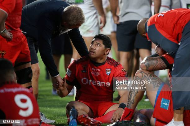 Tonga's Jason Taumalolo reacts after the Rugby League World Cup men's semifinal match between Tonga and England at Mt Smart Stadium in Auckland on...