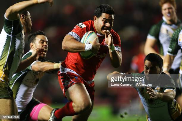Tonga's Konrad Hurrell during the the 2013 World Cup match at Leigh Sports Village Leigh