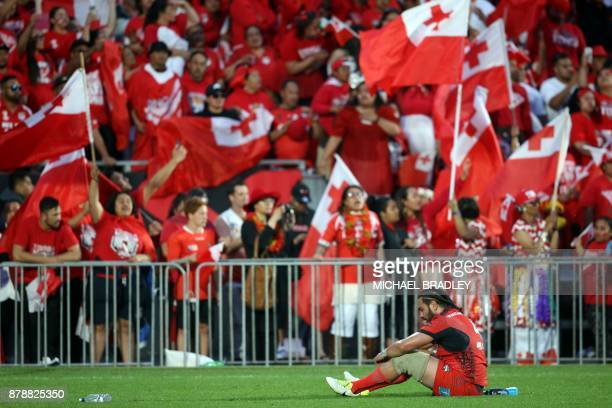 Tonga's Konrad Hurrell reacts after the Rugby League World Cup men's semifinal match between Tonga and England at Mt Smart Stadium in Auckland on...