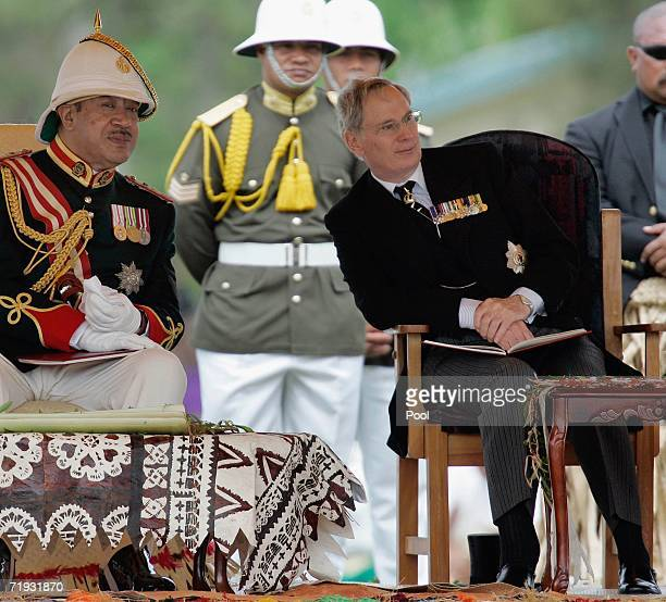 Tonga's new King, King George Tupou V, talks with the Duke of Gloucester at the state funeral of his father King Taufa'ahau Tupou IV on September 19,...