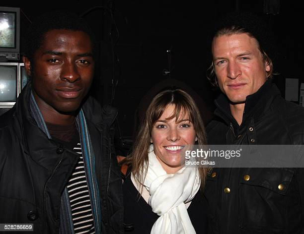 Tongayi Chirisa Philip Winchester and fiancee Megan Coughlin of the new NBC show Crusoe pose backstage at Spring Awakening on Broadway on October 18...