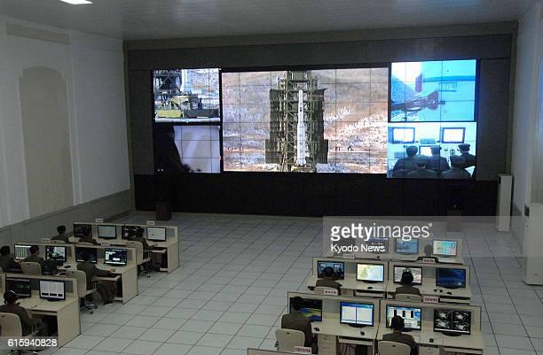 Tongchangri North Korea A screen at North Korea's satellite control center shows a rocket at the Sohae rocket launching facility in Tongchangri North...