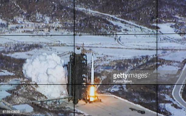 Tongchangri North Korea Photo of an image on the screen of North Korea's satellite control center shows a rocket being launched from the Sohae rocket...