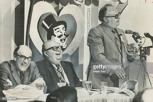 Tongueincheek introduction for Opposition Leader Robert Stanfield is given at Variety Club luncheon yesterday by Liberal MP Phil Givens at the...
