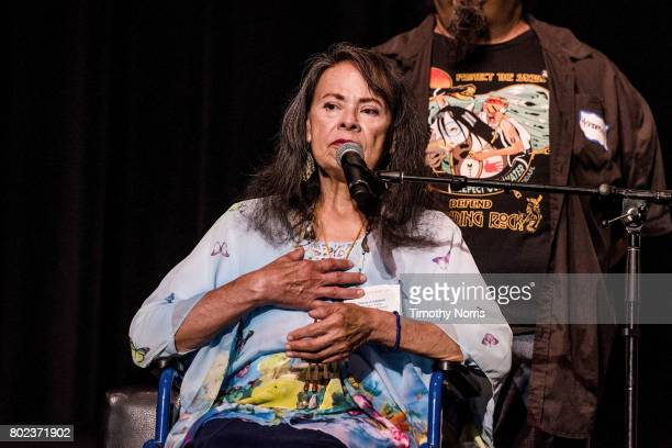 Tongva tribe elder Gloria Arellanes speaks during Climate Day LA at The Theatre at Ace Hotel on June 27 2017 in Los Angeles California