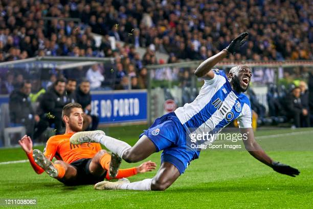 Toni Borevkovic of Rio Ave FC competes for the ball with Moussa Marega of FC Porto during the Liga Nos match between FC Porto and Rio Ave FC at...