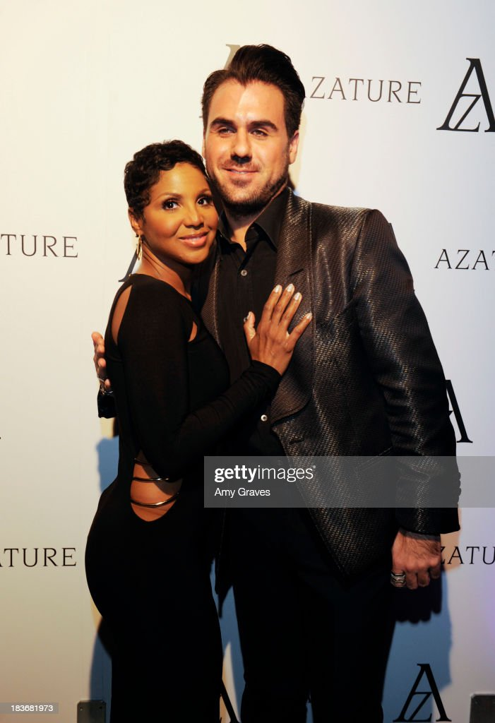 Toni Braxton and Azature Pogosian attend the Black Diamond Affair Presented by Azature at Sunset Tower on October 8, 2013 in West Hollywood, California.