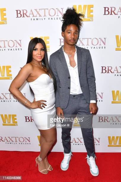"Toni Braxton and Diezel Ky Braxton-Lewis are seen as We TV celebrates the premiere of ""Braxton Family Values"" at Doheny Room on April 02, 2019 in..."