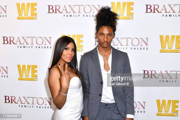 """Toni Braxton and Diezel Ky Braxton-Lewis are seen as We TV celebrates the premiere of """"Braxton Family Values"""" at Doheny Room on April 02, 2019 in..."""