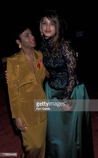 Toni Braxton and Perri Pebbles Reid attend the party for 35th Annual Grammy Awards on February 24 1993 at Jimmy's Restaurant in Beverly Hills...