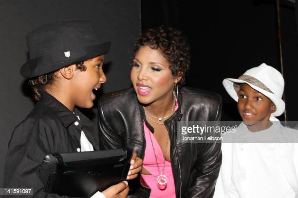 Toni Braxton and son's Diezel Ky BraxtonLewis and Denim Cole BraxtonLewis on Set For Toni Braxton's New Music Video 'I Heart You' at Civic Center...