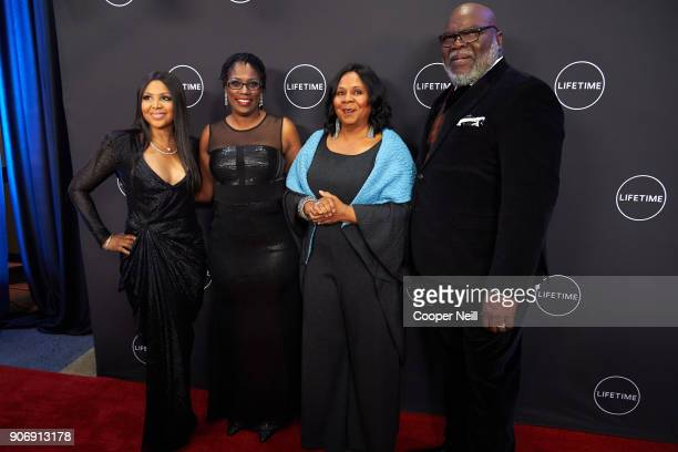 """Toni Braxton, Antoinette Tuff, Serita Jakes and Bishop T.D. Jakes pose for a photo during the premiere of """"Faith Under Fire: The Antoinette Tuff..."""