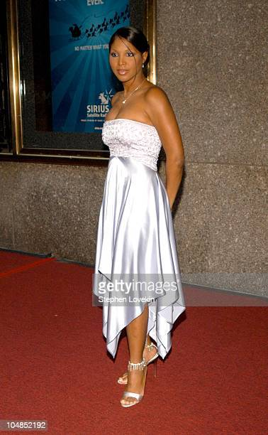 Toni Braxton in a Marc Bouwer dress during 2003 Tony Awards - Arrivals at Radio City Music Hall in New York City, NY, United States.