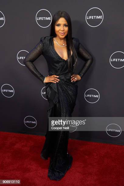 "Toni Braxton poses for a photo during the premiere of ""Faith Under Fire: The Antoinette Tuff Story"" at the Potter's House on January 18, 2018 in..."
