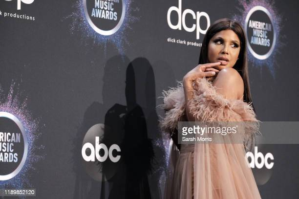 Toni Braxton poses in the press room at the 2019 American Music Awards at Microsoft Theater on November 24, 2019 in Los Angeles, California.