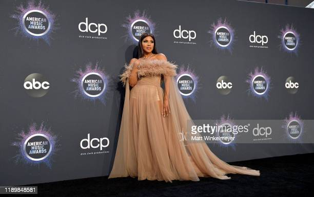 Toni Braxton poses in the press room during the 2019 American Music Awards at Microsoft Theater on November 24 2019 in Los Angeles California