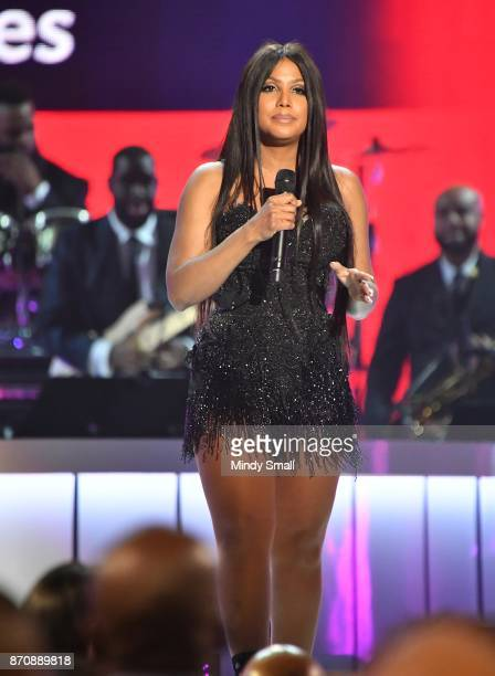 Toni Braxton speaks onstage during the 2017 Soul Train Music Awards at the Orleans Arena on November 5 2017 in Las Vegas Nevada