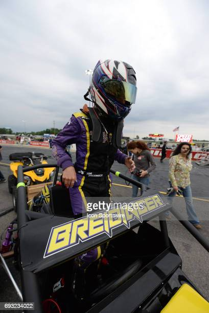 Toni Breidinger Breidinger Motorsports driver prepares for the Carb Night Classic United States Auto Club Silver Crown Champ Car Series 100lap...