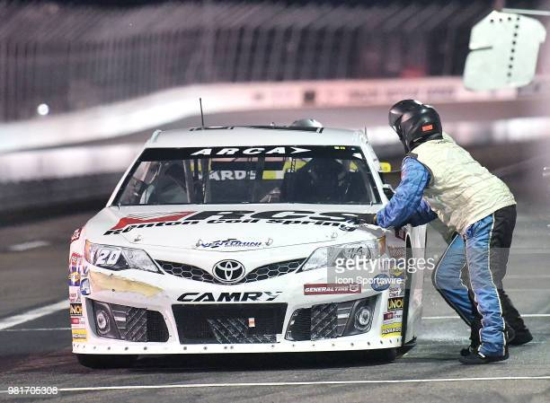 Toni Breidinger of Hillsborough CA driving a Toyota for Venturini Motorsports pits midway the race during the ARCA Racing Series PapaNicholas Coffee...
