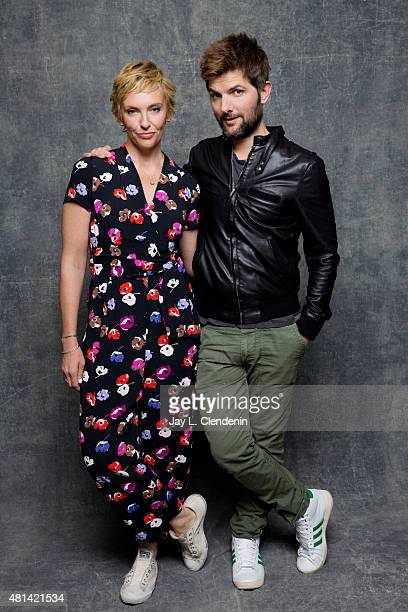 Toni Collette and Adam Scott of 'Krampus' pose for a portrait at ComicCon International 2015 for Los Angeles Times on July 9 2015 in San Diego...